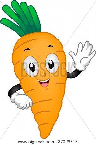 Illustration of a Carrot Mascot Waving its Hand