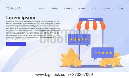 Feedback Concept. Customer Review Rating Online Shopping. Online Store App Reputation. Shopping Onli