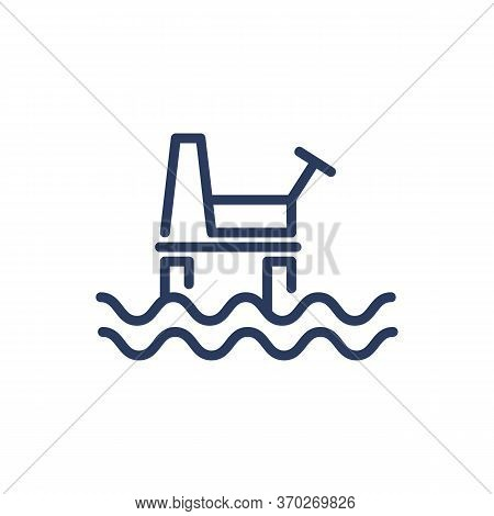 Sea Oil Plant Thin Line Icon. Shore, Onshore, Technology Isolated Outline Sign. Oil And Gas Industry