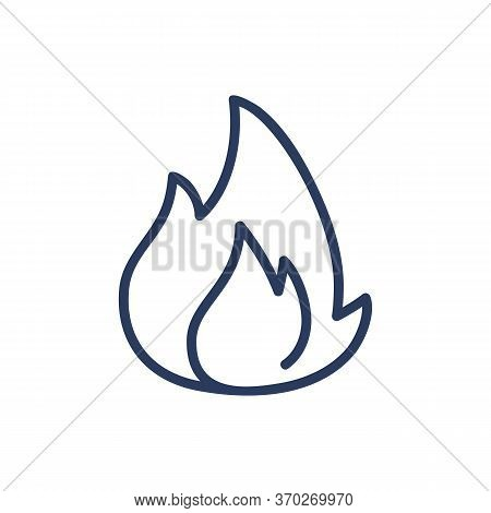 Fire Thin Line Icon. Burning, Flame, Blaze Isolated Outline Sign. Energy And Fuel Concept. Vector Il