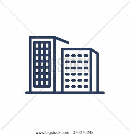 House Silhouettes Thin Line Icon. Apartment, Condo, Flat Isolated Outline Sign. Buildings And Urban