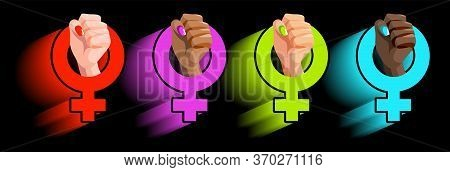 Feminism Flat Symbol With Womans Hands Of Different Race: African, Asian With Fist Raised Up. Female