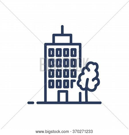 Residential Apartment House Thin Line Icon. Midtown, Construction, Flat Isolated Outline Sign. Build