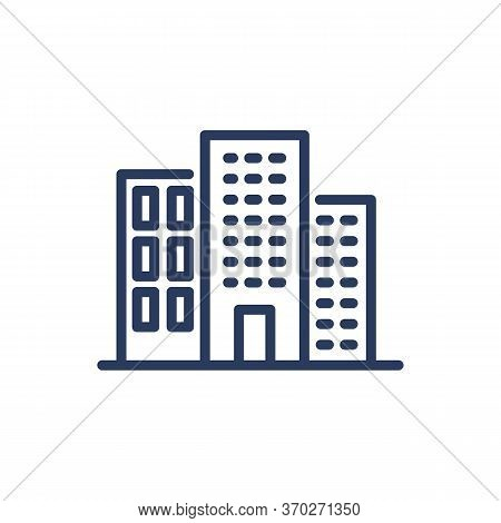Midtown Constructions Thin Line Icon. Home, Office, District Isolated Outline Sign. Buildings And Ur