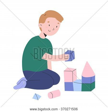 Little Boy Playing With Cubes, Toddler Boys Building A Tower With Wooden Bricks, Kindergarten Activi