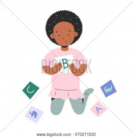 Little Girl Palying With Alphabet Flash Cards, Toddler Child With Abc Cardboard With Letters Learnin