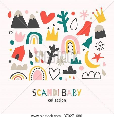 Scandi Baby Collection, Scandinavian Abstract Shapes Set, Doodle Hand Drawn Illustrations Of Rainbow