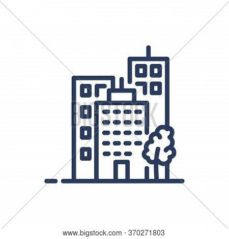 Midtown Cityscape Thin Line Icon. Housing, Metropolis, District Isolated Outline Sign. Buildings And