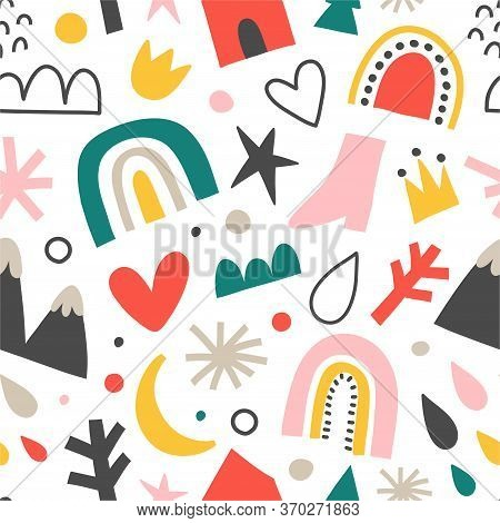 Scandinavian Baby Pattern With Rainbow Handdrawn Abstract Shapes, Nordic Ornament For Kids Room Or T