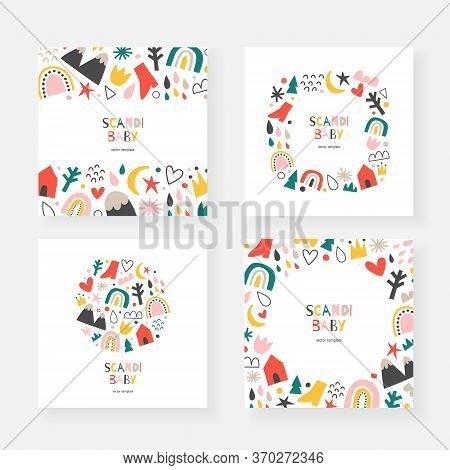 Scandinavian Baby Cards Collection, Set Of Vector Frames, Borders And Wreaths With Copy Space, Abstr