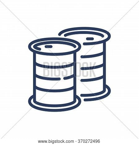Oil Barrels Thin Line Icon. Storage, Reservoir, Petroleum Isolated Outline Sign. Oil And Gas Industr
