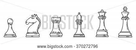 Chess Pieces Black Outline Flat Silhouettes. Game Concept Lineart Stock Vector Set.
