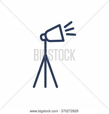 Studio Lighting Thin Line Icon. Spotlight, Tripod, Floodlight Isolated Outline Sign. Photography, Te
