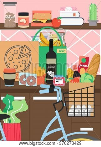 Kitchen Interior With Furniture And Foodstuff, Vector Flat Illustration