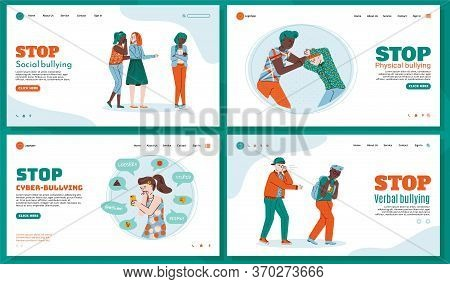 Templates Set Of Web Pages To Stop Bullying With Characters Of Teenagers Or Schoolchildren, Flat Vec