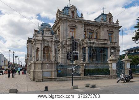 Punta Arenas, Chile-february 10, 2020: The Palacio Sara Braun At Plaza Armas, Punta Arenas, Chile