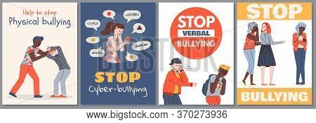 Scared, Sad People Are Abused By Aggressive Evil Characters. Vector Concept Of Bullying And Harassme