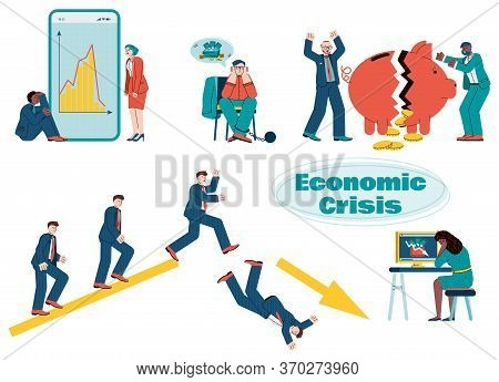 Illustrations Of Characters Suffering From The Economic Crisis. Modern Vector Illustration Of The Gl