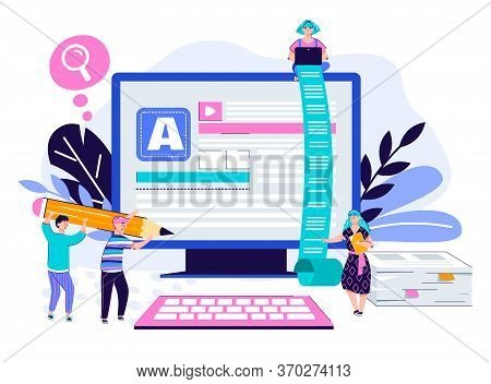 Copywriting And Content Creation Poster Concept With Cartoon People With Writing Tools Using Giant C
