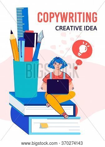 Online Copywriting Poster With Woman On Laptop Working On Creative Idea. Cartoon Freelance Writer Wi