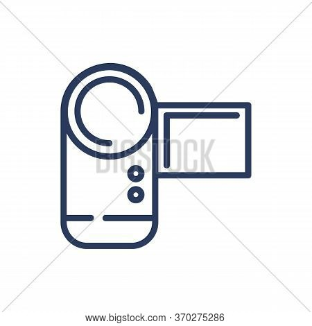 Small Video Camera Thin Line Icon. Portable Device, Cam, Footage Isolated Outline Sign. Moviemaking,