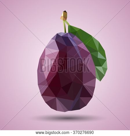 Polygonal Juicy Purple Plum With Green Leaf . Realistic Vector. Low-poly Style