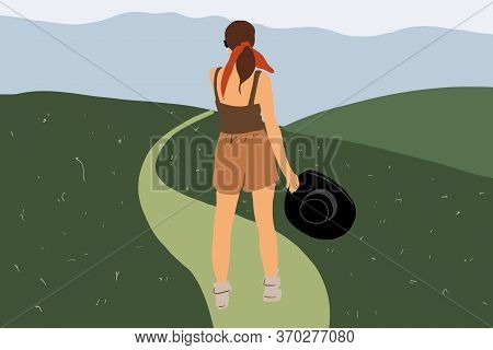 Woman Standing On A Footpath On The Green Meadow While Traveling On Nature. Vector Illustration In F