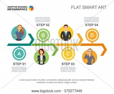 Four Colleagues Team Process Chart Slide Template. Business Data. Workflow, Employee, Diagram. Creat