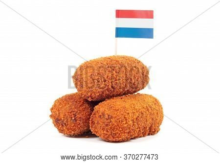 Brown Crusty Dutch Kroketten With Dutch Flag, Isolated On A White Background