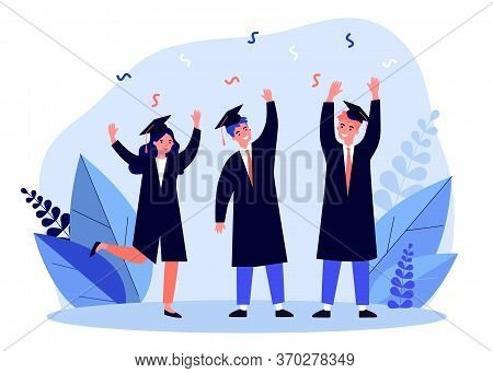 Happy Students Celebrating Graduation From University. College, Bachelor, Diploma Flat Vector Illust