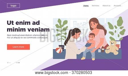 Positive Pediatrician Vaccinating Cute Child In Medical Office. Kid Doctor Making Injection Of Vacci