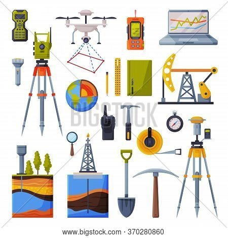 Geodesy Equipment Collection, Geodetic Engineering Instruments And Devices Flat Style Vector Illustr
