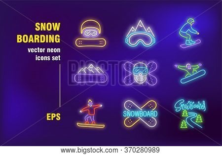 Snowboarding Set In Neon Style. Snowboard, Mountain And Winter. Vector Illustrations For Night Brigh