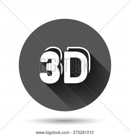 3d Text Icon In Flat Style. Word Vector Illustration On Black Round Background With Long Shadow Effe