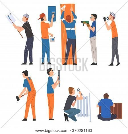 Male Construction Workers Doing Renovation At Home With Professional Equipment Set, Man Painting Wal