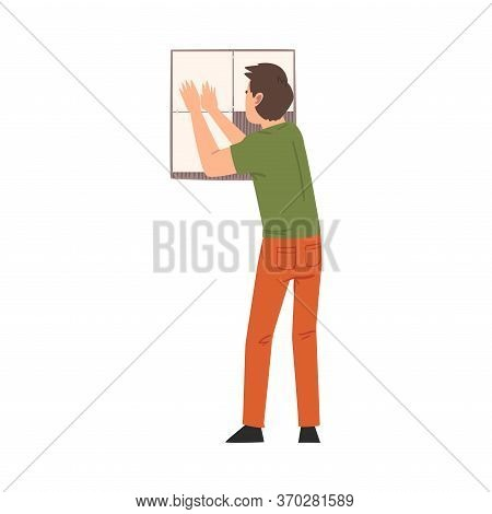 Man Installing Ceramic Tiles On Bathroom Wall, Home Renovation, Male Construction Worker Character W