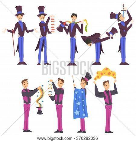 Magicians Doing Tricks Set, Male Illusionist Characters Performing At Magic Show Cartoon Style Vecto
