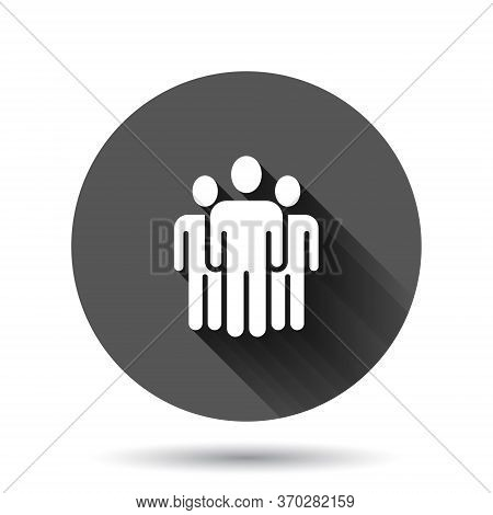 People Communication Icon In Flat Style. People Vector Illustration On Black Round Background With L