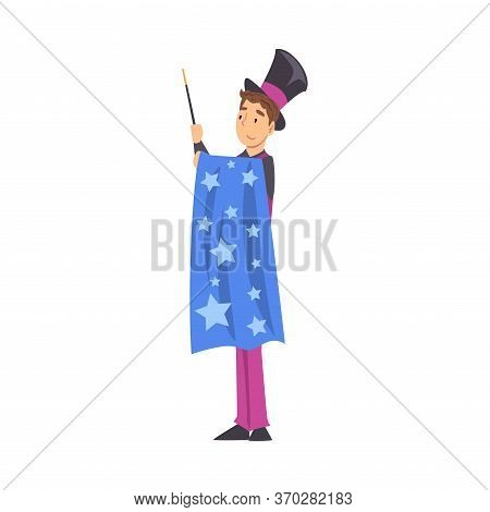 Magician Doing Tricks With Magic Wand, Illusionist Character Performing At Magic Show Cartoon Style