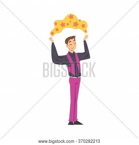 Magician Doing Tricks, Male Illusionist Character Performing At Magic Show Cartoon Style Vector Illu