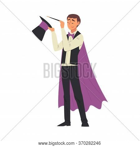 Magician Doing Tricks With Magic Wand And Top Hat, Illusionist Character In Cape Performing At Magic