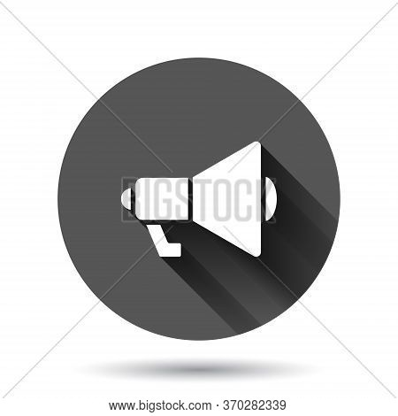 Megaphone Speaker Icon In Flat Style. Bullhorn Sign Vector Illustration On Black Round Background Wi