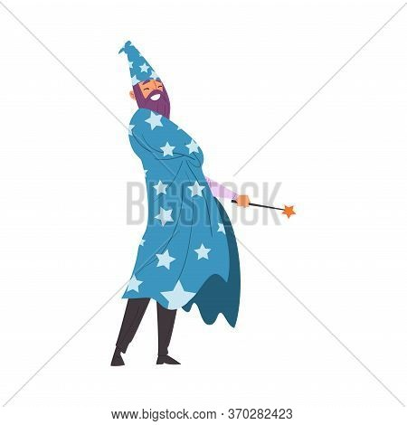 Magician Doing Tricks With Magic Wand, Wizard Character Wearing Cape With Stars And Cone Hat Perform
