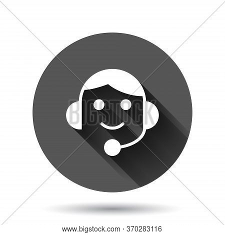 Helpdesk Icon In Flat Style. Headphone Vector Illustration On Black Round Background With Long Shado