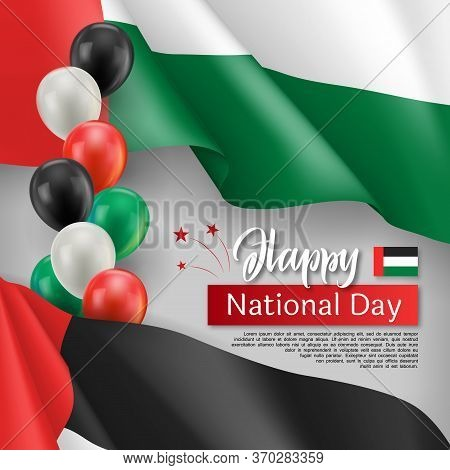 Happy Arabic National Day Festive Poster. United Arab Emirates Official Holiday Celebrated 2th Of De