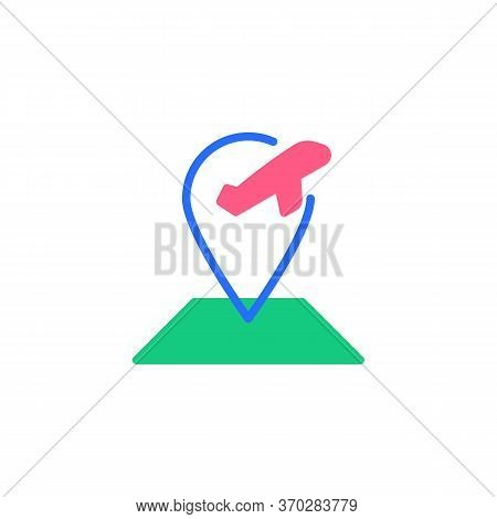 Airport Location Flat Icon, Vector Sign, Map Pointer With Plane Colorful Pictogram Isolated On White