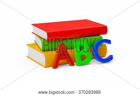Orange, Red, And Green Hardcover Books With Blank Covers Stacked Over White Background With A, B And