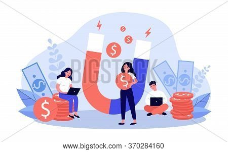 People Attracting Money With Magnet Flat Vector Illustration. Man And Woman With Laptop Taking Fast