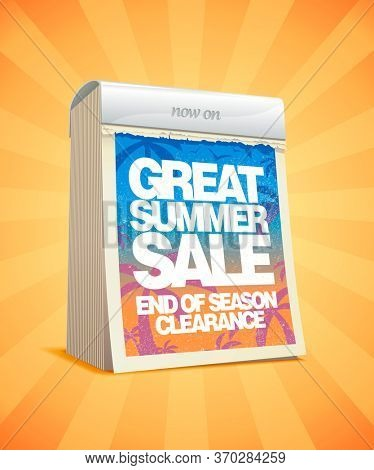 Great summer sale tear-off calendar design, rasterized version