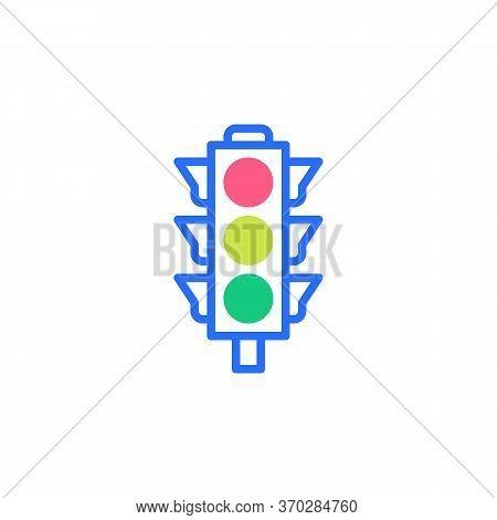 Traffic Light Flat Icon, Vector Sign, Stoplight Colorful Pictogram Isolated On White. Symbol, Logo I